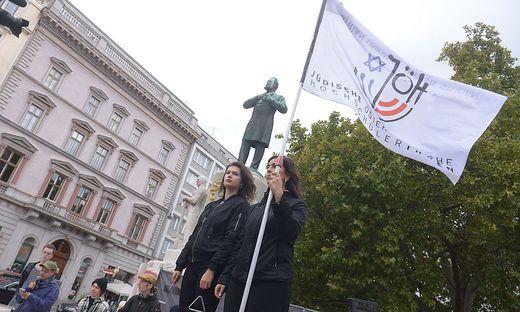 """Die """"Schandwache"""" beim Wiener Lueger-Denkmal"""