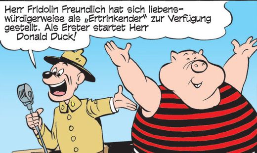 Fridolin Freundlich - Erika Fuchs übersetzte die von Carl Barks erdachte Figur als Fridolin Freudenfett