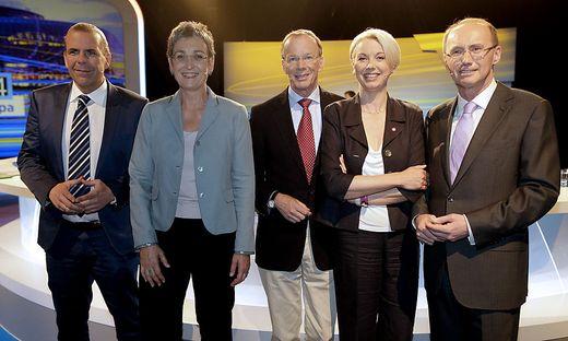 2014: die Kandidaten Vilimsky, Lunacek, Freund, Mlinar und Karas im ORF