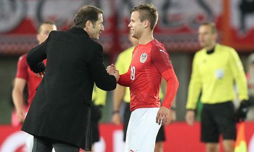 Österreich besiegte Uruguay bei der Foda-Premiere mit 2:1, Louis Schaub (rechts) erzielte das entscheidende Tor