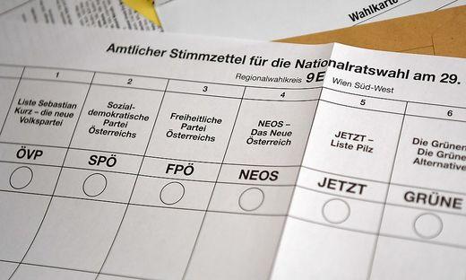 Stimmzettel der Nationalratswahl Ende September 2019