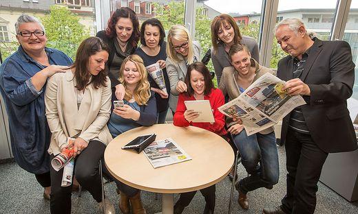 Von links: Claudia Raffling, Nadja Waiguny, Bettina Friedl, Daniela Grössing, Ulrike Greiner, Martina Schmerlaib, Simone Dragy, Sandra Tatschl, Christina Strauss, Hubert Budai
