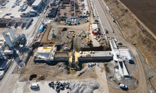 Neuer Bahnhof Lavanttal bei St. Paul - Baustelle Sommer 2021