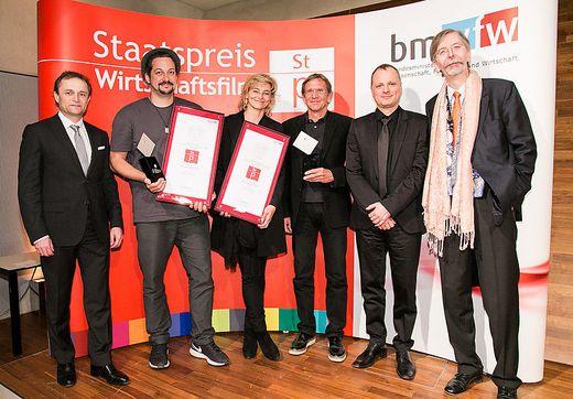 Staatspreis: Auftraggeber Hans Schullin (dritter von rechts) und Mindconsole-Chef Markus Karlseder