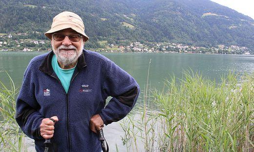 Kurt Diemberger am Platz seiner Jugend - dem Ossiacher See