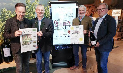 Guido Jaklitsch, Herbert Germuth, Erich Polz und Karl Wratschko präsentieren die neue Jahreszeiten-Initiative in der Südsteiermark