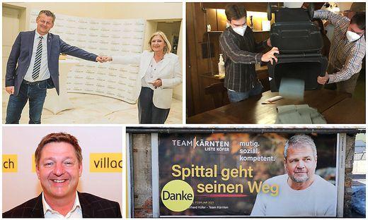Scheider und Mathiaschitz gehen in die Stichwahl, in Vellach wurde Mülleimer zur Wahlurne umfunktioniert, Köfer schaffte es in die Stichwahl gegen Bürgermeister Pirih, in Villach gewann Albel (von links oben im Uhrzeigersinn)