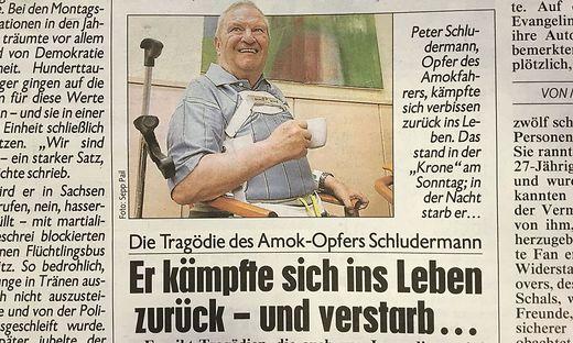 Die Kronen Zeitung berichtet heute vom Tod des Amok-Opfers.