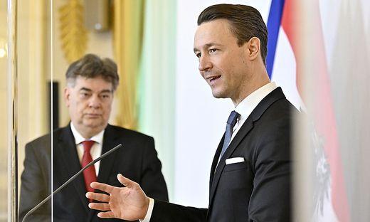 Finanzminister Gernot Blümel und Vizekanzler Werner Kogler