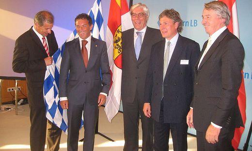 Hypo-Deal-Closing in Bayern: Josef Martinz, Jörg Haider, Werner Schmidt, Tilo  Berlin, Wolfgang Kulterer