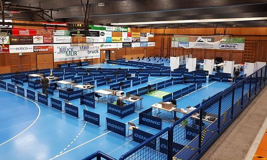 Die Teststation in der Brucker Sporthalle