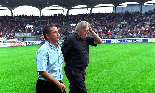 Werner Gregoritsch und Ivica Osim vor einem Derby 2001