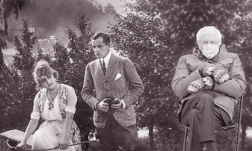 """Bernie Sanders im Jahr 1917 bei den Dreharbeiten zum ältesten Kärntner Spielfilm mit dem Titel """"Der schwarze Chauffeur"""""""