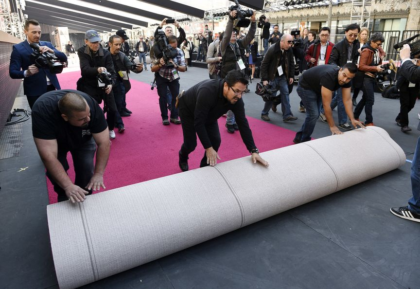 Wenige Tage Vor Der Oscar Gala Ist Rote Teppich Für Hollywoods Große Show Ausgerollt Worden